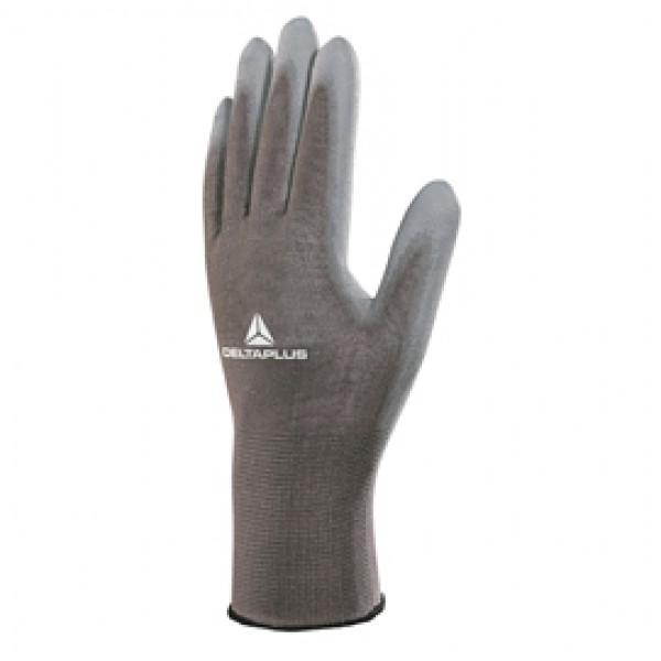 Guanto di precisione VE702PG - poliestere - palmo in poliuretano - taglia 09 - grigio - Deltaplus