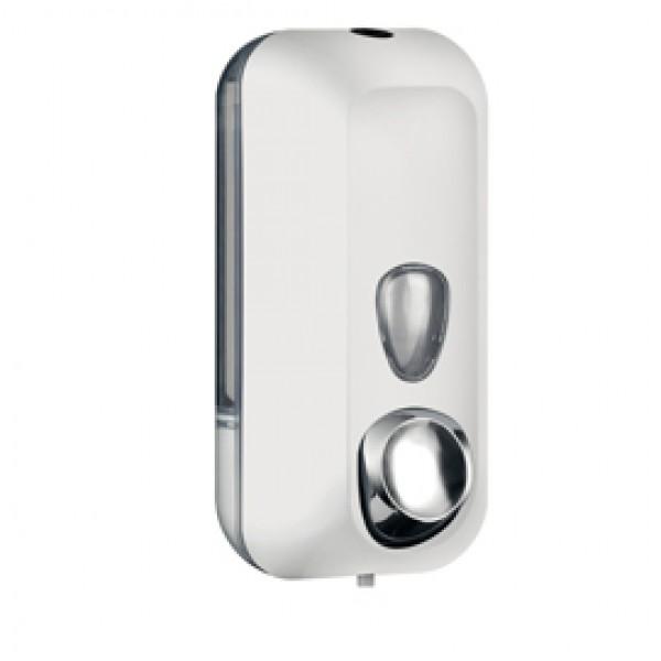 Dispenser Soft Touch per sapone liquido - 10,2x9x21,6 cm - capacità 0,55 L - bianco - Mar Plast