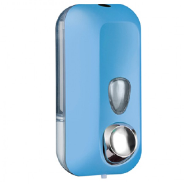 Dispenser Soft Touch per sapone liquido - 10,2x9x21,6 cm - capacità 0,55 L - azzurro - Mar Plast