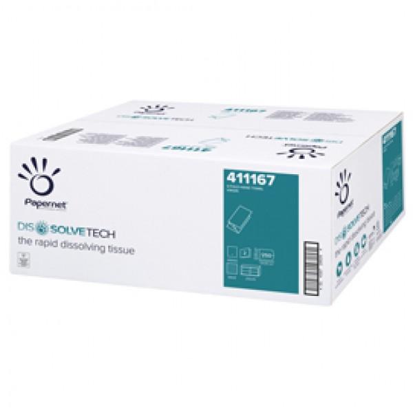 Asciugamani piegati a V Dissolve Tech - 2 veli - 20 gr - 24 x 21 cm - goffratura a onda - bianco - Papernet - conf. 250 pezzi