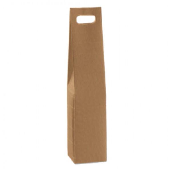 Scatola in cartone Onda avana - 1 bottiglia - 9 x 9 x 37cm - Scotton