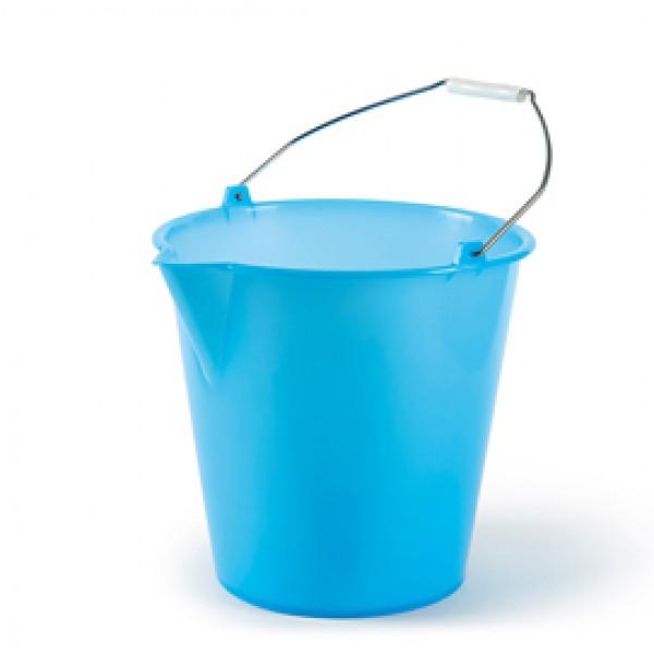 Secchio con becco - politene/metallo - 12 L - azzurro - In Factory