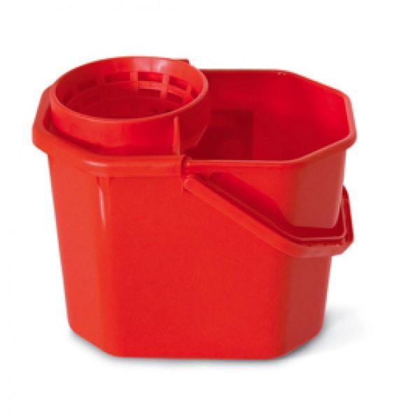 Secchio con strizzatore - PPL riciclabile - 12 L - rosso - In Factory