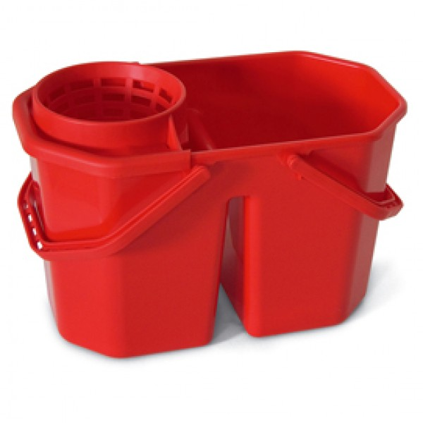 Secchio a doppia vasca con strizzatore - PPL riciclabile - 15 L - rosso - In Factory