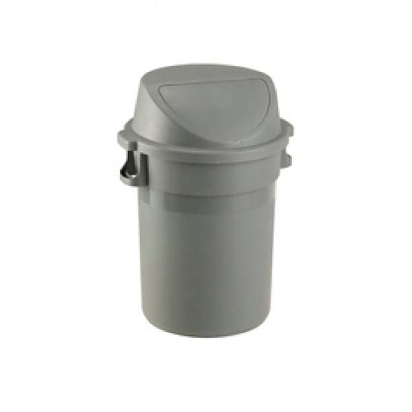Bidone Maxipush - diametro 55,5 cm - altezza 78 cm - PPL - 80 L - grigio - Medial International