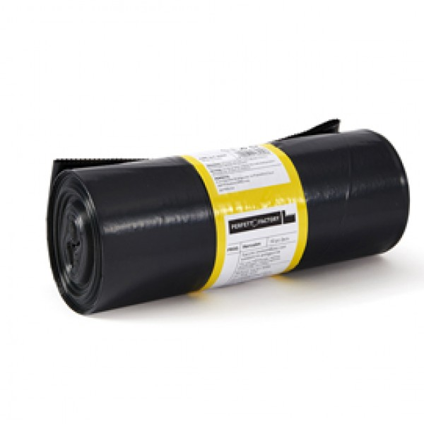 Sacchi per rifiuti Hercules - 90x120 cm - 150 L - 65 micron - nero - Perfetto - rotolo da 10 sacchetti