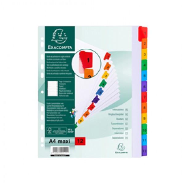 SEPARATORE Numerico 1-12/A4 Maxi In CARTONCINO 160gr Exacompta - 4112E
