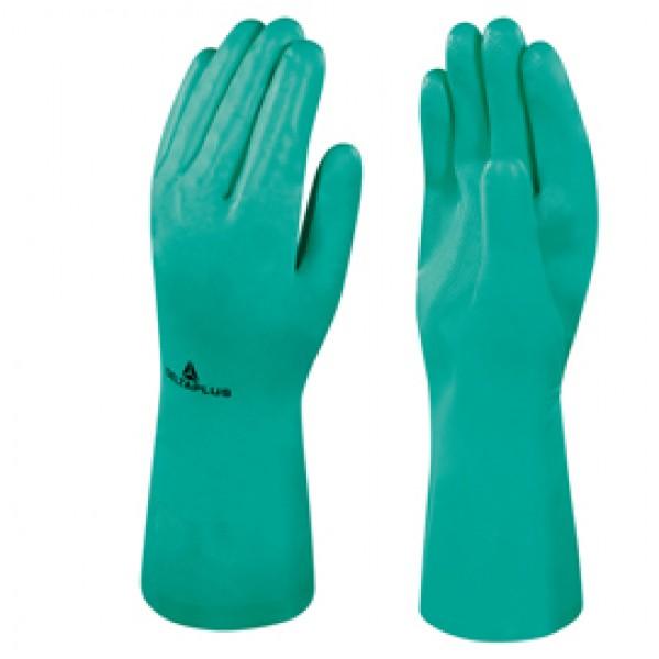Guanto da lavoro industriale Nitrex 801 - nitrile floccato cotone - taglia 08 - verde - Deltaplus