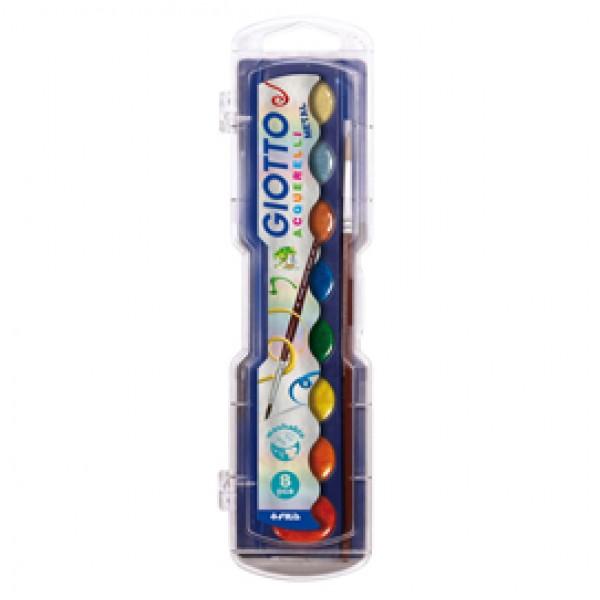 Pastiglie Acquerelli glitter e metal  - colori assortiti - Giotto - astuccio 8 pastiglie metal