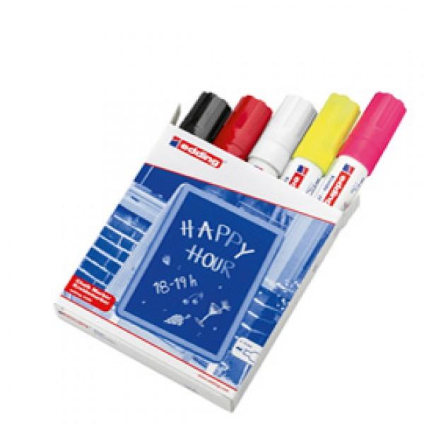 Marcatore Ending 4090 - punta scalpello da 4,00 - 15,00 mm - colori assortiti - Edding - astuccio 5 pezzi