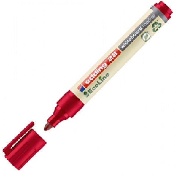 Marcatore 28  per lavagne bianche EcoLine - punta conica da 1,50-3,00mm - rosso  - Edding