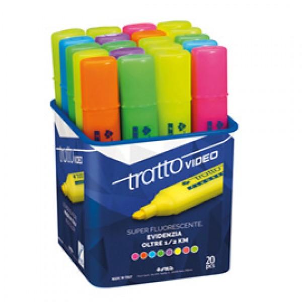 Evidenziatore Tratto Video - punta a scalpello - tratto da 1,0-5,0mm - 20 colori assortiti  - Tratto