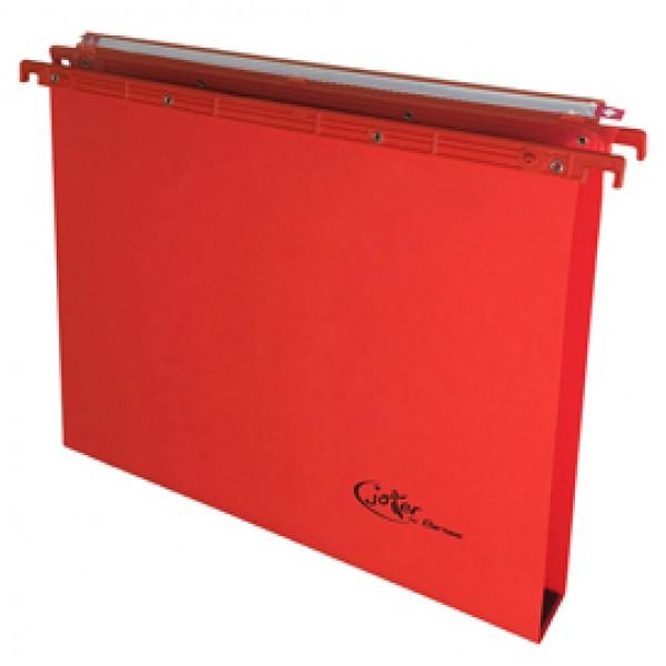 Cartella sospesa Joker - cassetto - interasse 39 cm - fondo U 3 cm - 37x25 cm - rosso - Bertesi