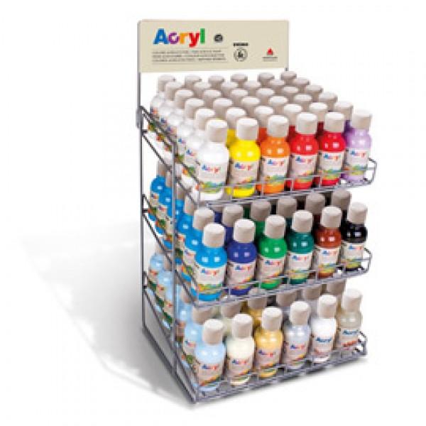 Colori acrilici - 125 ml - colori assortiti - Primo - expo da banco 108 pezzi
