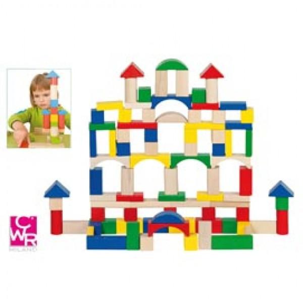 Gioco costruzioni in legno - pezzi assortiti - CWR - Conf. 100 pezzi