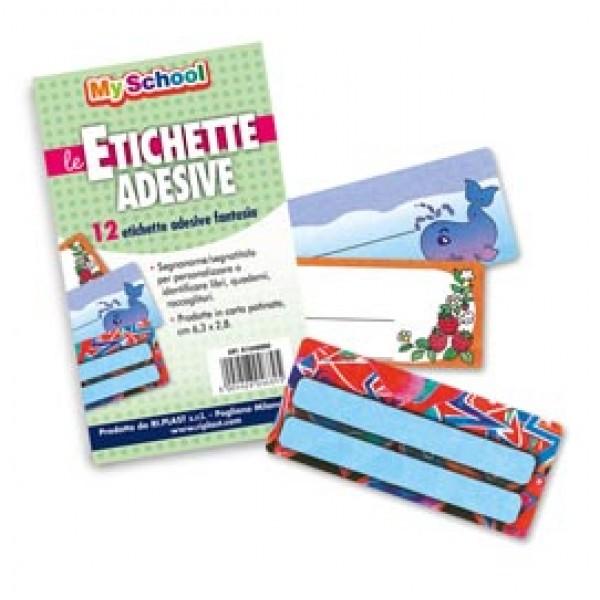 Etichette adesive segnanomi - 6,3x8cm - fantasie assortite - Ri.plast - Busta 12 pezzi