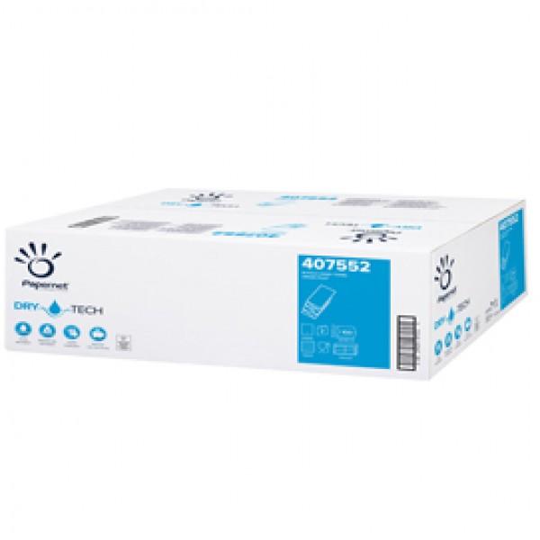 Asciugamani piegati a W Dry Tech - 2 veli - 18 gr - goffratura a onda - 20,3 x 32 cm - bianco - Papernet - conf. 100 pezzi