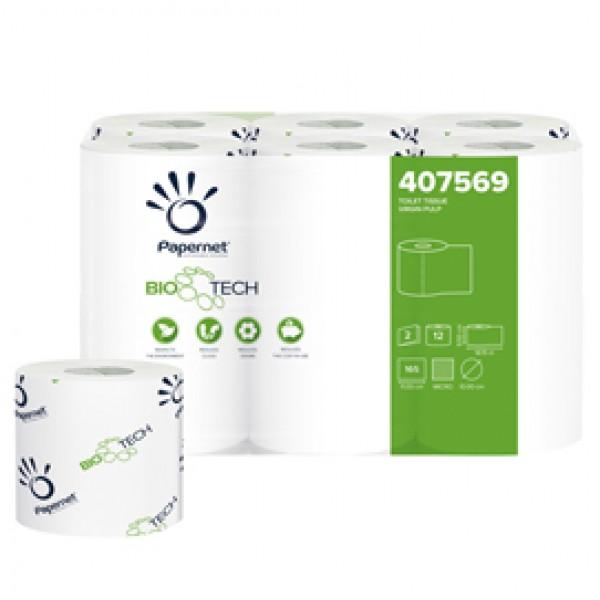 Carta igienica standard Bio Tech - 2 veli - 165 strappi -  diametro 10 cm - 9,5 cm x 18,2 mt - Papernet - pacco 12 rotoli