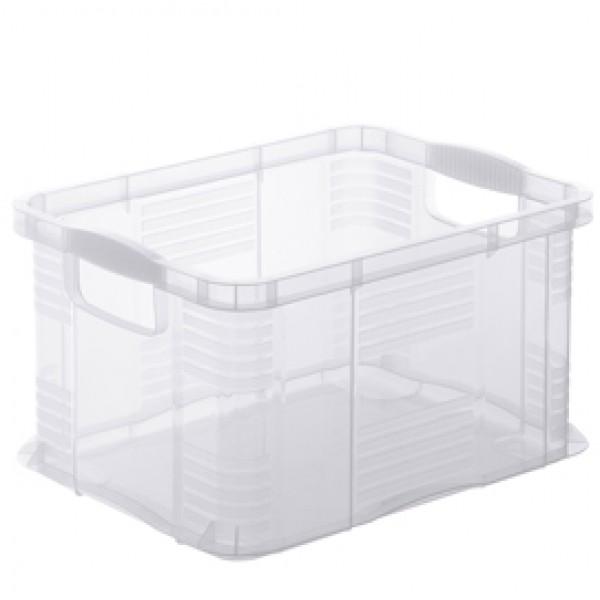 Contenitore portaoggetti - 39x29x21,5 cm - A4 - 17,5 L - PPL - trasparente - Rotho
