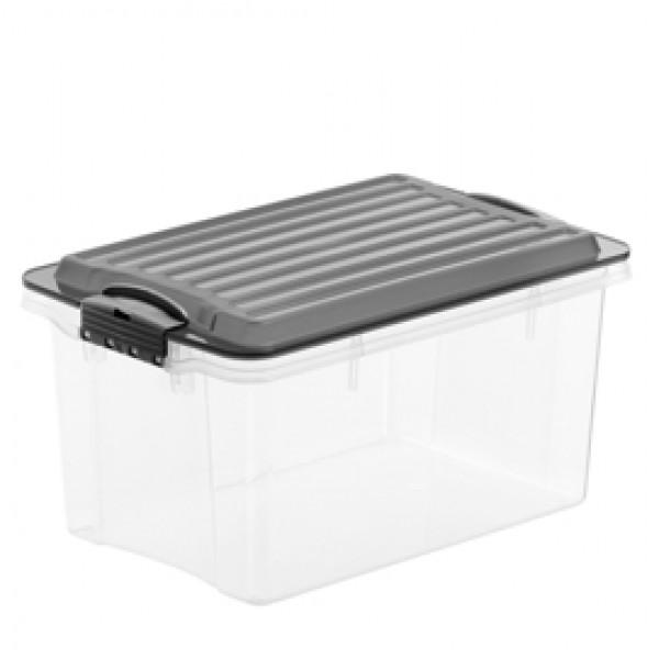 Contenitore Compact - 39,5x27,5x18 cm - A4 - 13 L - PPL - coperchio nero - trasparente - Rotho