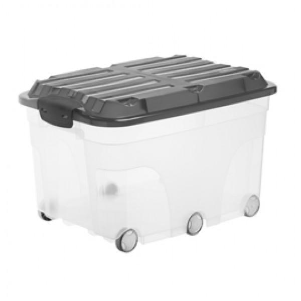 Contenitore Roller 6 - con ruote - 59,5x40x37 cm - 57 L - PPL - coperchio nero - trasparente - Rotho