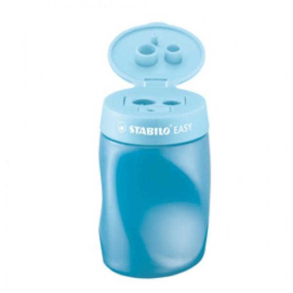 Temperamatite Easy con contenitore  - 3 fori - ergonomico - blu - per mancini - Stabilo