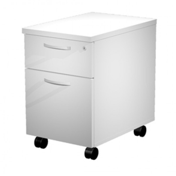 Cassettiera Agorà - 39,4x60x60 cm - 1 cassetto + 1 classificatore - con ruote - bianco - Artexport
