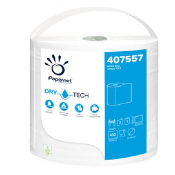 Bobina asciugatutto DryTech - 2 veli - diametro 25 cm - 23,4 cm x 152 mt -  400 strappi - finitura liscia - bianco - Papernet