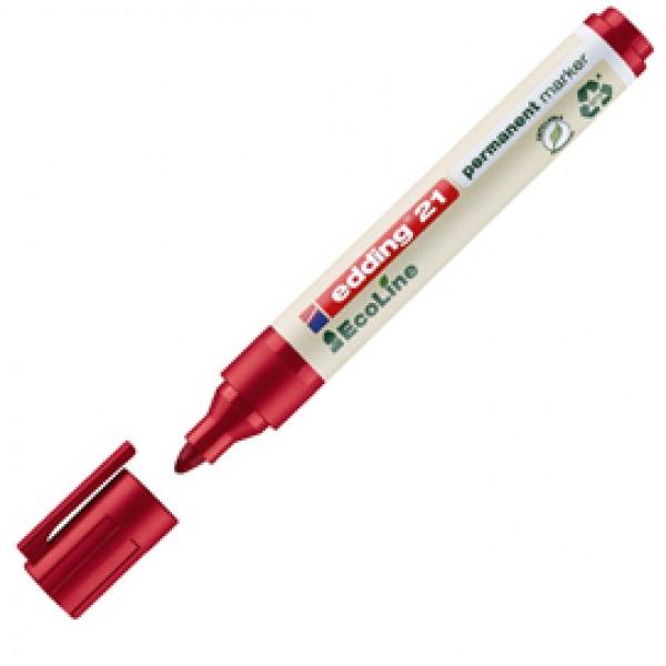Marcatore 21 Ecoline  - punta conica da 1,50-3,00mm - rosso - inchiostro permanente  - Edding