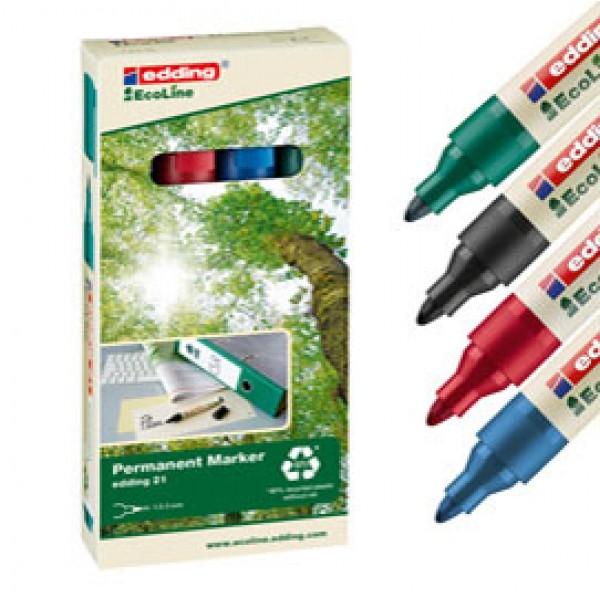 Marcatore permanente 21 Ecoline - punta conica 1,50 - 3,00 mm - colori assortiti - Edding - conf. 4 pezzi