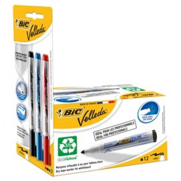 Pennarello per lavagne cancellabili Whiteboard Marker Velleda 1701 Recycled (nero) + 3 Ink Pocket (nero / rosso / blu)  - Bic - promo box 12 + 3 pezzi