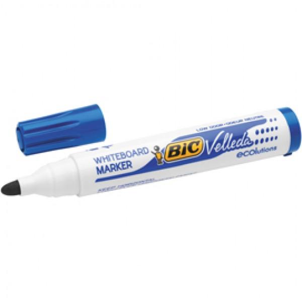 Pennarello per lavagne cancellabili Whiteboard Marker Velleda 1701 Recycled Bic - punta tonda 1,5mm - blu - Bic - conf. 12 pezzi