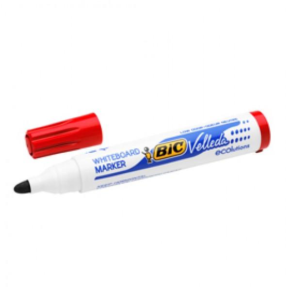Pennarello per lavagna cancellabile Whiteboard Marker Velleda 1701 Recycled BIC  - punta tonda 1,5mm - rosso - Bic - conf. 12 pezzi