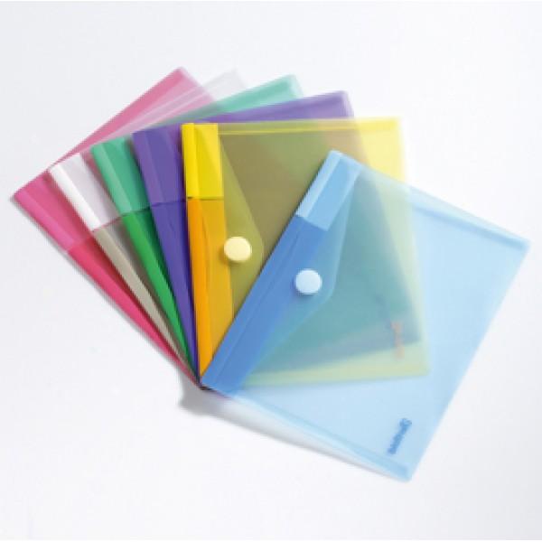 Buste con bottone in velcro - PP - 24x19 cm - colori assortiti - Tarifold - set 6 pezzi
