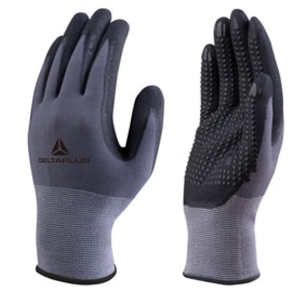 Guanto di precisione  - poliammide - palmo nitrile/poliuretano + puntini - taglia 08 - grigio e nero - Deltaplus