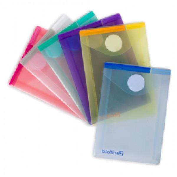 Buste con velcro - PP - formato verticale - 8 x 11,5 cm - colori assortiti - Tarifold - set 6 colori