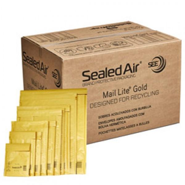 Busta imbottita Mail Lite® Gold - formato D (18x26 cm) - avana - Sealed Air® - confezione risparmio da 100 pezzi
