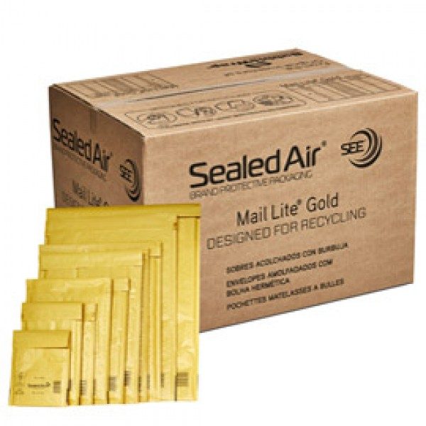 Busta imbottita Mail Lite® Gold - formato H (27x36 cm) - avana - Sealed Air® - confezione risparmio da 50 pezzi