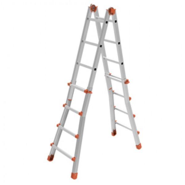 Scala telescopica Squadra - 8+8 gradini - alluminio - Marchetti