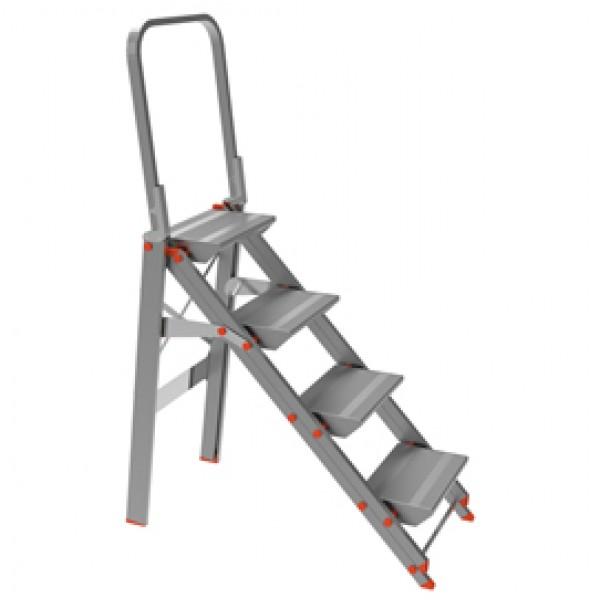 Scala sgabello Class Più con parapetto - 4 gradini - alluminio - Marchetti