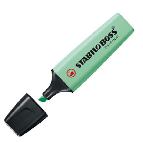 Evidenziatore Boss Original Pastel - punta a scalpello - tratto da 2,0- 5,0mm -  colore  verde menta - Stabilo