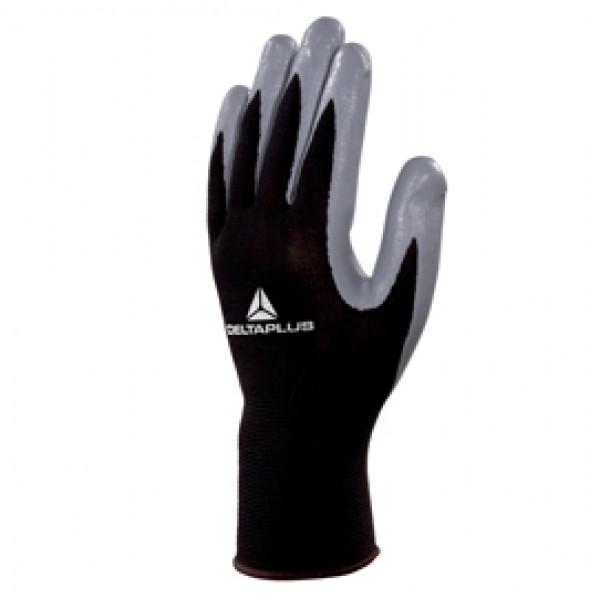 Guanto di precisione VE712GR - poliestere - palmo in nitrile - taglia 07 - nero/grigio - Deltaplus