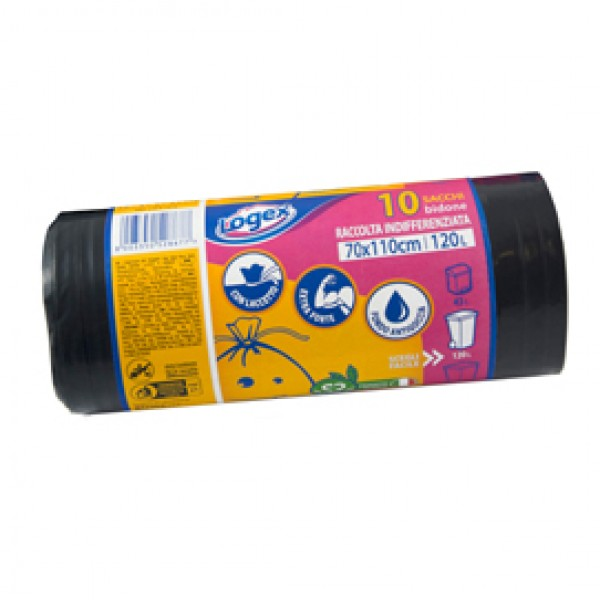 Sacchi per immondizia - 70x110 cm - 120 L - 43 micron - nero - Logex Professional - rotolo da 10 sacchetti