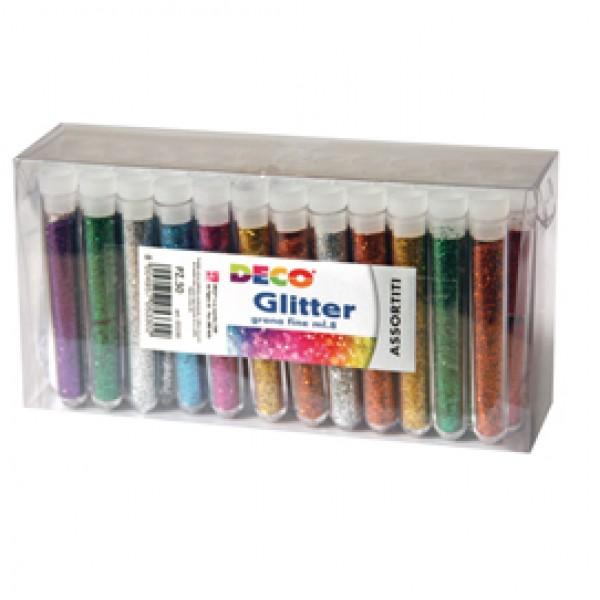 Glitter grana fine - 12ml - colori assortiti - CWR - blister 50 flaconi