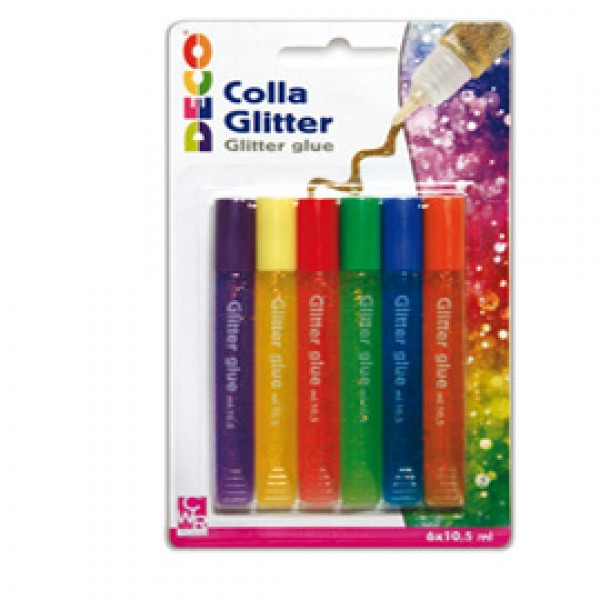 Blister colla glitter 6 penne 10,5ml colori pastello assortiti Cwr - 11229