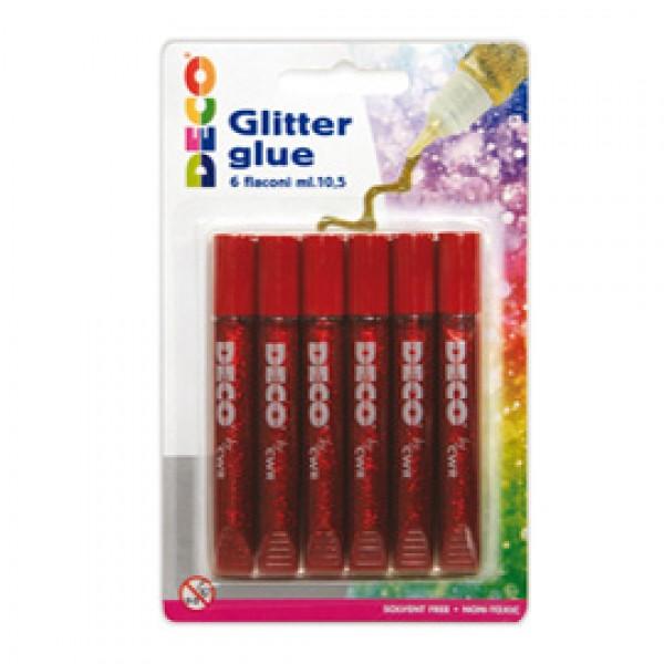 Blister Colla glitter - 10,5ml - rosso - CWR - Conf. 6 penne