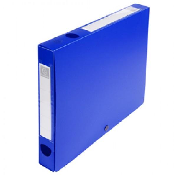 Scatola per archivio box - con bottone - 25x33 cm - dorso 4 cm - blu - Exacompta