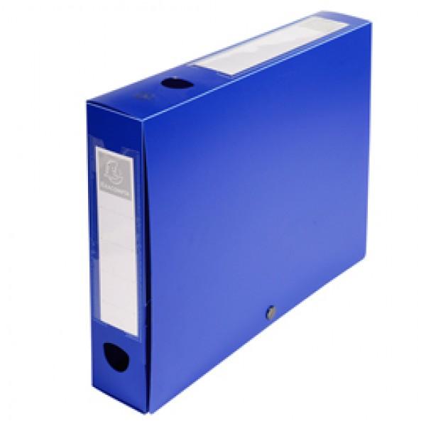 Scatola per archivio box - con bottone - 25x33 cm - dorso 6 cm - blu - Exacompta