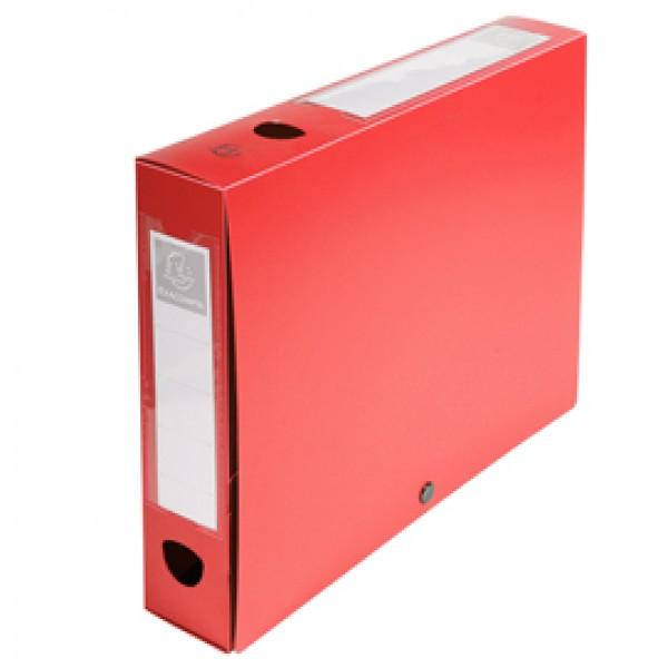 Scatola per archivio box - con bottone - 25x33 cm - dorso 6 cm - rosso - Exacompta
