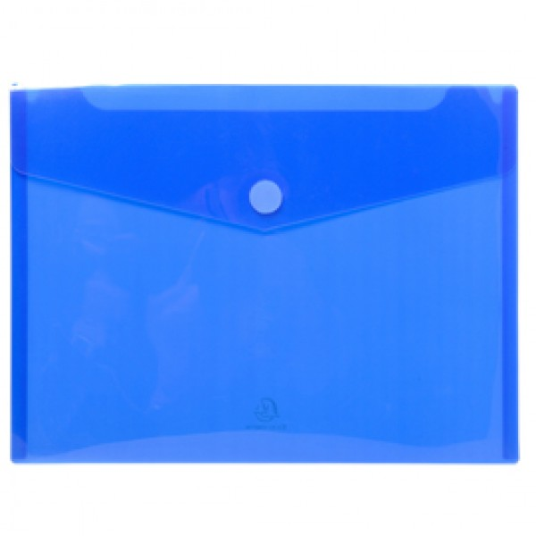 Busta a tasca con chiusura in velcro - PPL - 24x32 cm - blu/trasparente - Exacompta